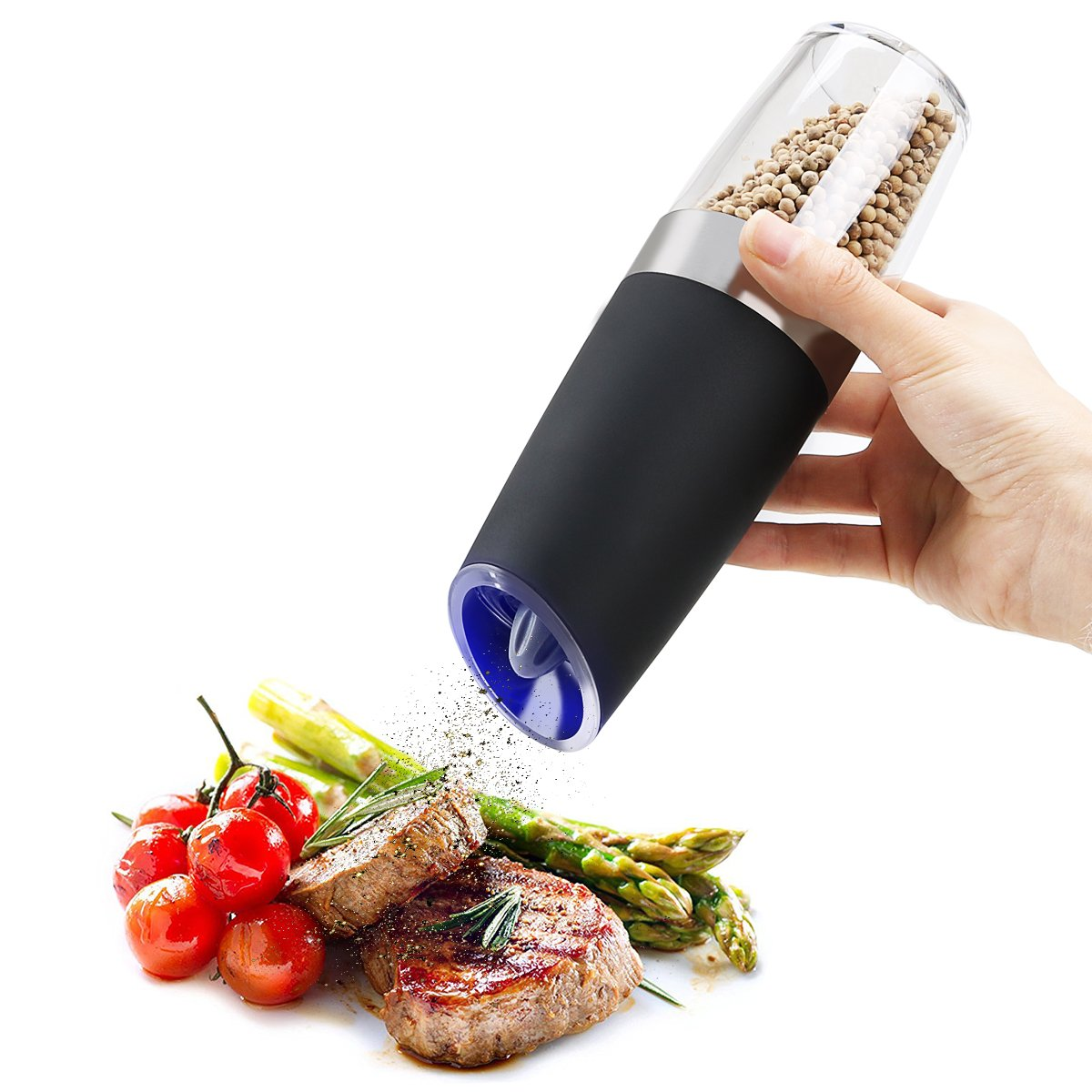 Electric Salt Pepper Grinder, Tilt to Automatic Pepper Mill and Salt Grinder, One Hand Operation, Adjustable Grind Coarseness, Blue LED Light, ABS/PBT Plastic SweetAlice