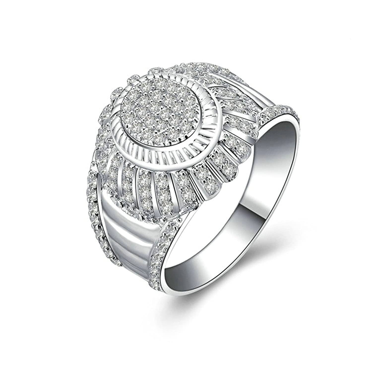 Bishilin Ring for Wedding for Him Iced Out Ring Round White Cubic Zirconia Size 11.5