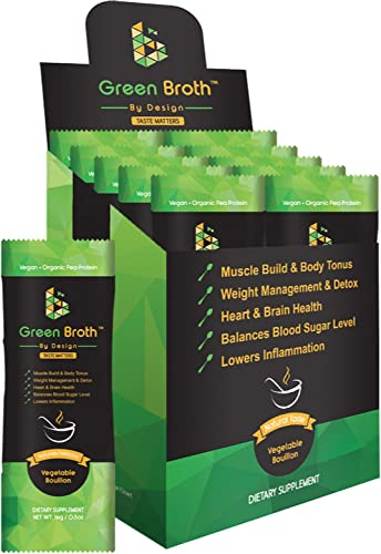 Organic Pea Protein 10 Sachets Vegetable Bouillon Natural Flavor Keto Non-GMO Broth by Design
