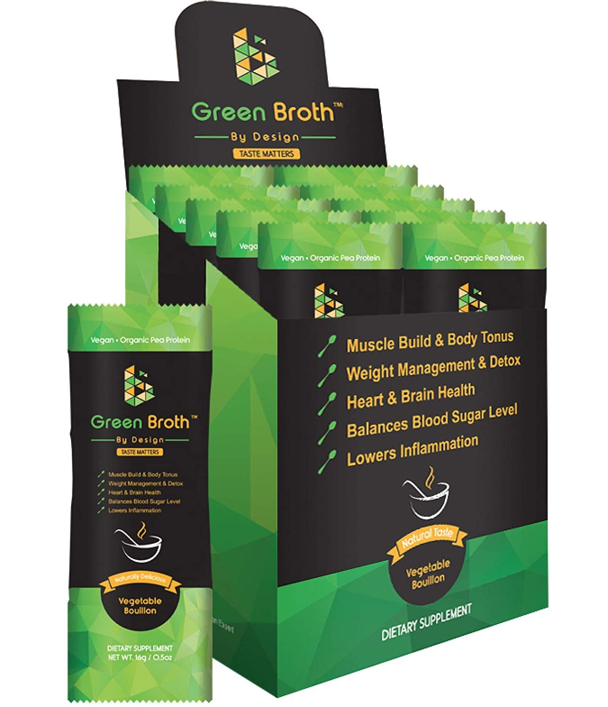 Organic Pea Protein 10 Sachets Vegetable Bouillon Natural Flavor Keto Non-GMO Broth by Design