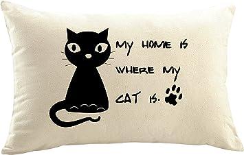 Mister funda de cojín almohada personalizada gato gatos resaca Cat Gato Mutti gato amantes yo y mi gato, My Home Is, 50x30 cm: Amazon.es: Hogar