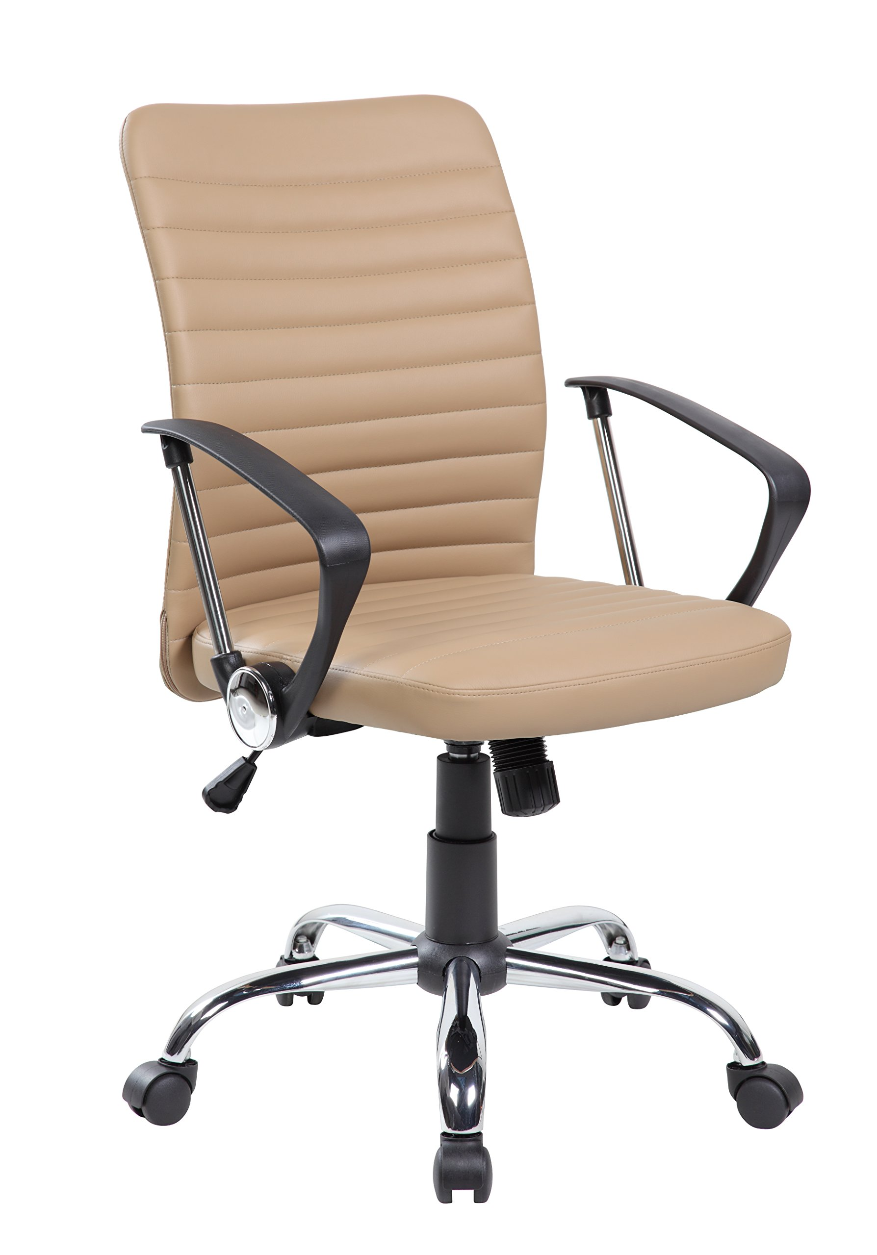 KERLAND Ergonomic Ribbed Mid Back Height Adjustable Executive Swivel Office Chair with Arms, PU Leather Modern Desk Chair (Beige)