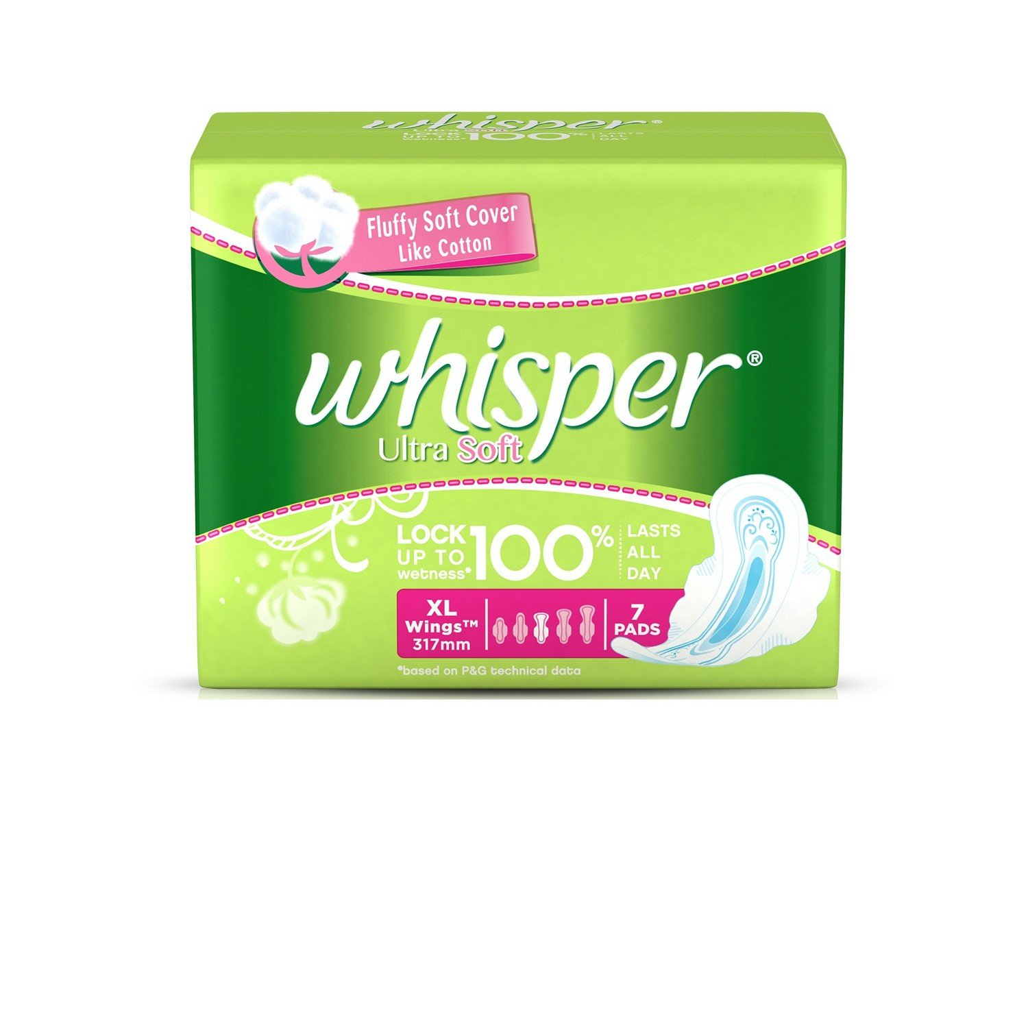 Buy Whisper Ultra Soft Sanitary Pads Extra Large Wings - 7 Pieces ...