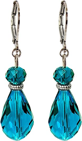 Glass Triangle Dangle with Light Blue Crystal Accents