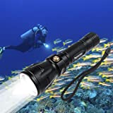 Goldenguy 1200LM Cree Xml-L2 Scuba Dive Diving LED Flashlight Torch 100m Underwater Waterproof Submarine Light Fishing Handheld Torch(without Battery)
