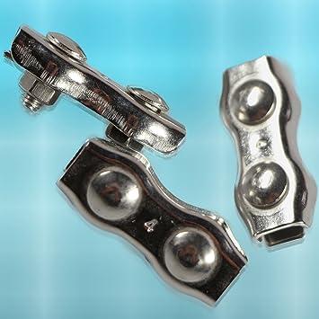 PRIOstahl® Drahtseilklemme 10 X Duplexklemmen 4 mm EDELSTAHL V4A ...