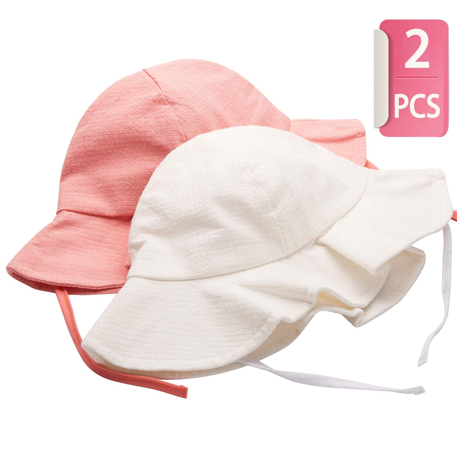 Kids Sun Hat for Baby Toddler UPF 50+ UV Ray Sun Protection Wide Brim Sun Protective Hat (1pcs Pink+1pcs White)