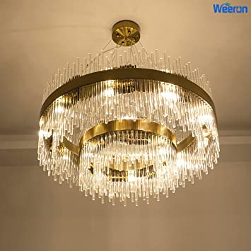 Weerun led latest styles cylindrical clear crystal and gold light weerun led latest styles cylindrical clear crystal and gold light stand ceiling lights fixture lamps chandelier aloadofball Choice Image