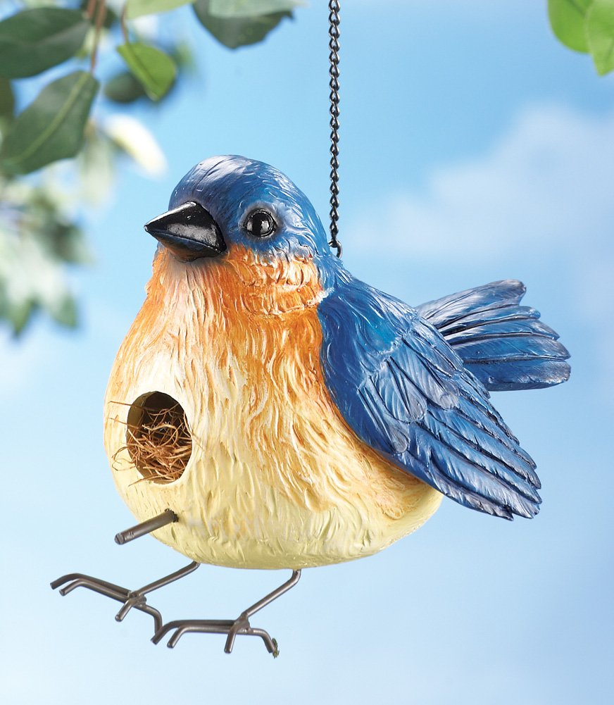 Collections Etc Chubby Blue Bird Hanging Birdhouse, Yellow