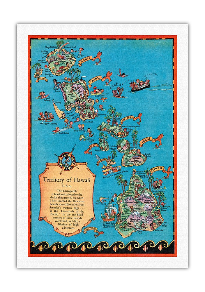 ハワイ地図のテリトリー ビンテージカラーの地図製作のマップ によって作成された ルーステイラーホワイト c.1931 美しいポスターアート B00IETQ5BW69cm x 112cm キャンバスアート(ロール)