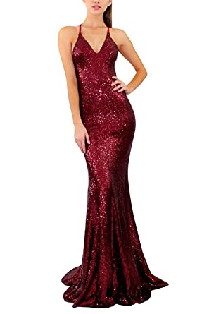 Womens Spaghetti Strap V-Neck Sequined Burgundy Mermaid Long Prom Dresses