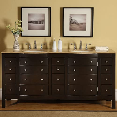 Silkroad Exclusive HYP-0704-T-UIC-72 Travertine Top Double Sink Bathroom Vanity