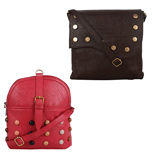 7c80c130eb Fillincart Women Brown and Red Colour PU Material Pack of 2 Sling Bags   Amazon.in  Shoes   Handbags