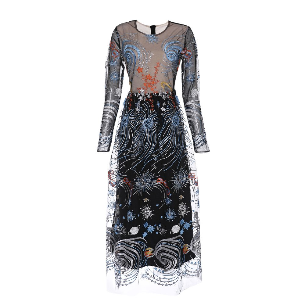 DEZZAL Womens Long Sleeve Starry Sky Embroidered See-Through Mesh Maxi Dress (L) at Amazon Womens Clothing store: