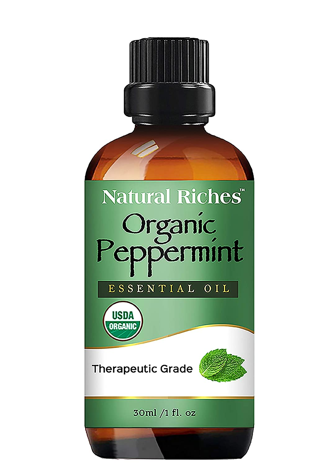 Natural Riches Organic Peppermint Oil, USDA Certified Organic, Undiluted, Natural Peppermint Essential Oil Aromatherapy, Therapeutic Grade Mentha Arvensis - Cooling Smell with Fresh Mint Oil & Menthol