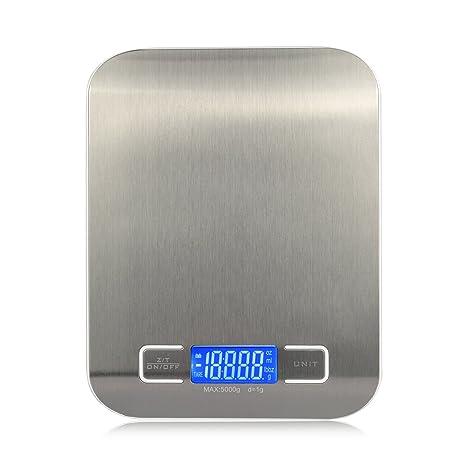 Báscula de cocina digital, multifunción escala con pantalla LCD, escala de acero inoxidable