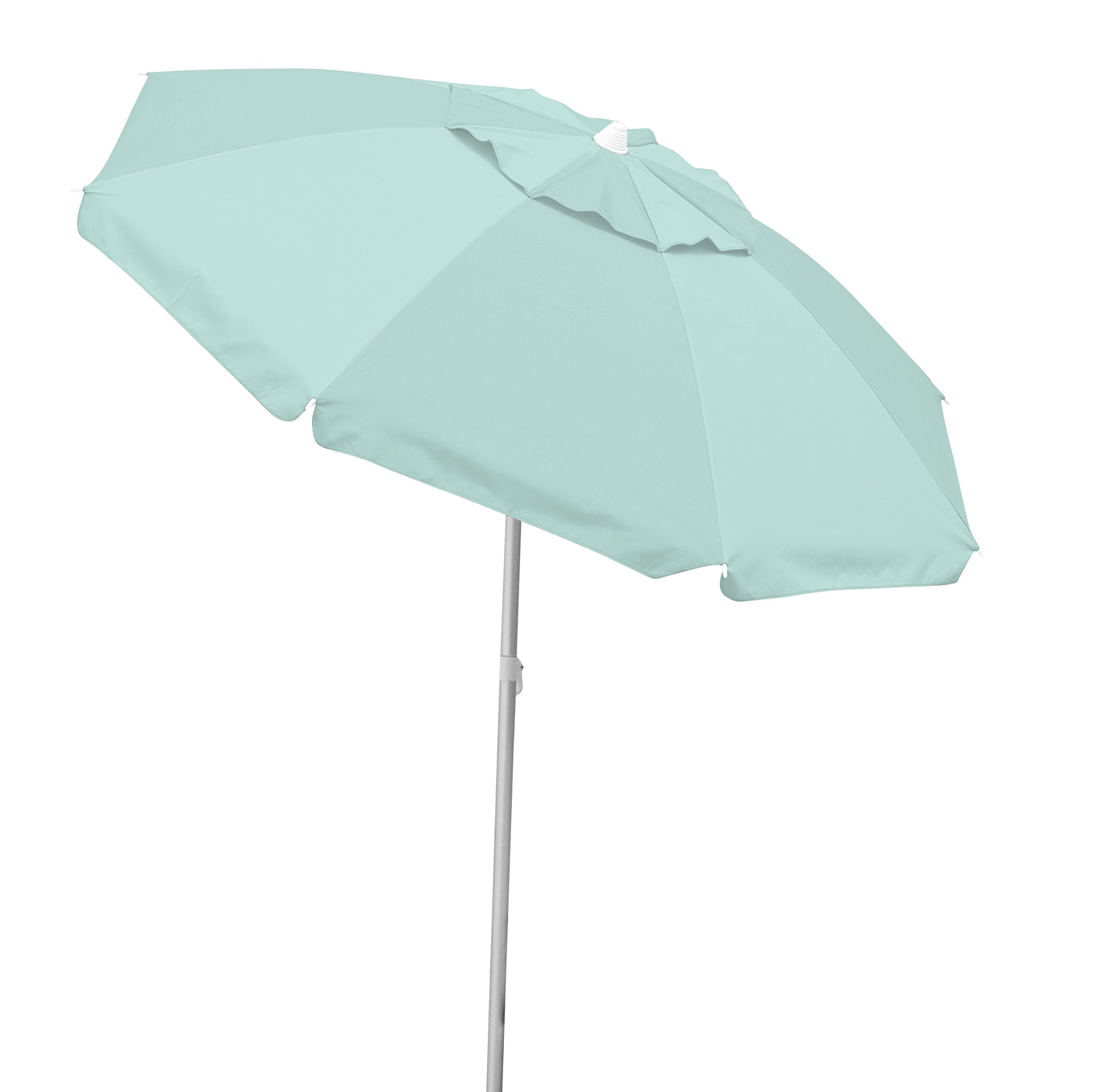 Caribbean Joe Tilting Beach Umbrella Double Canopy Windproof Design with UV Protection, Mint, 6.5' by Caribbean Joe