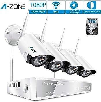 TMEZON Kit Videosorveglianza WiFi Esterno,960P AUTO-PAIR Sorveglianza Sistema NVR 4 Canali,4x1.3MP IP Telecamere Videocamera,Metallo Impermeabile,Visore notturno,Monitor da remoto,1TB HDD