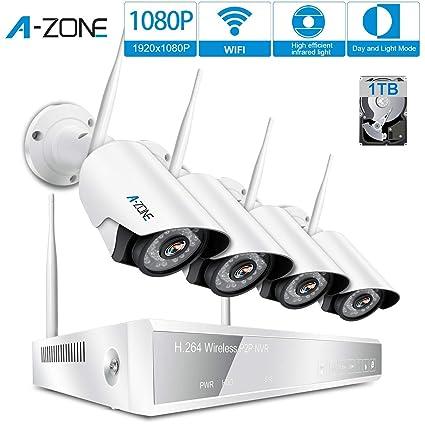 A-ZONE 4 Canales Kit de Videovigilancia full HD 1080P NVR 4x 2.0MP Wifi IP Cámaras de Seguridad Vision Nocturna Exterior ,con 1TB HDD (1080P Cameras + ...