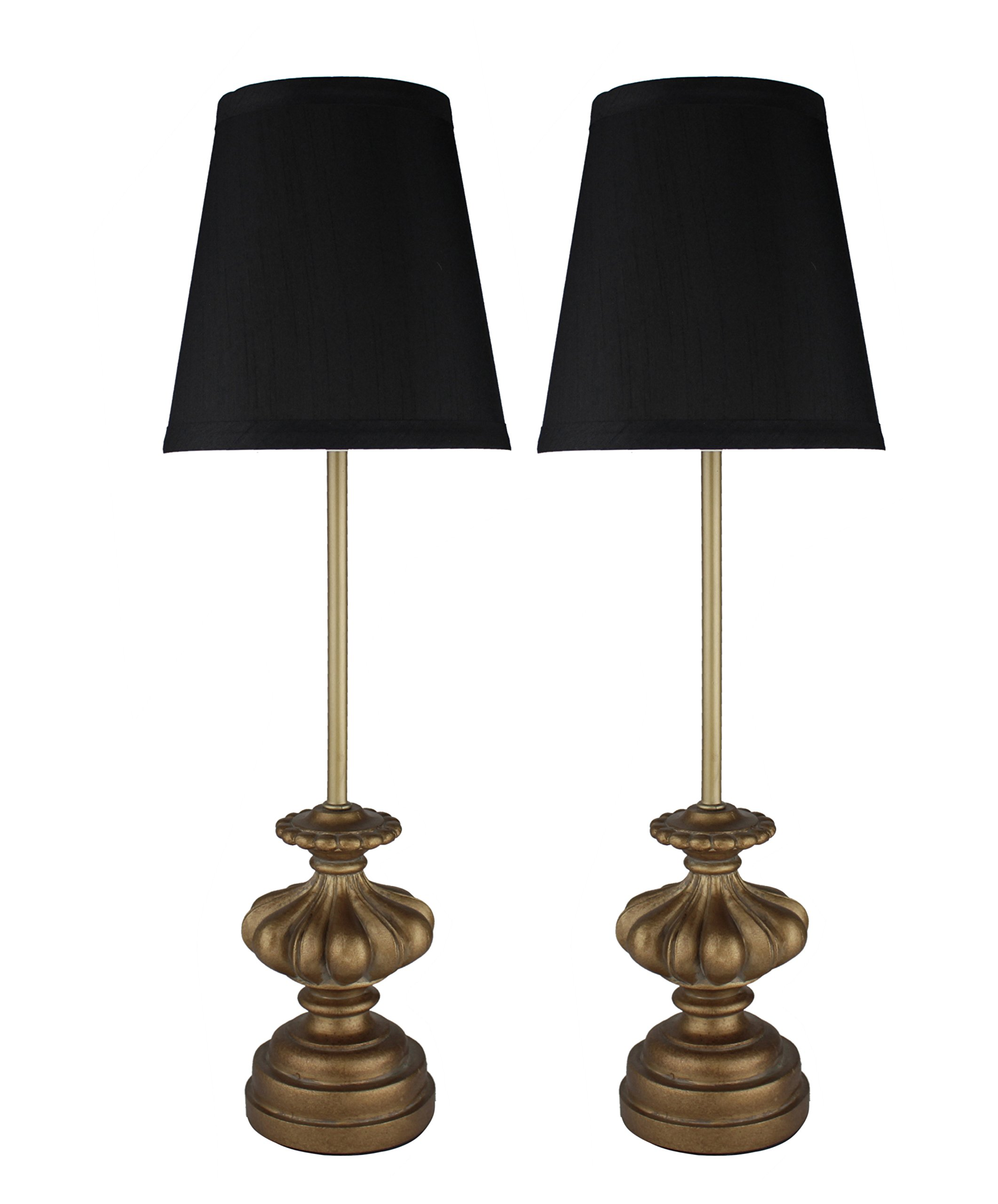 Urbanest Set of 2 Alma Mini Buffet Lamps in Paris Gold with Black Shades