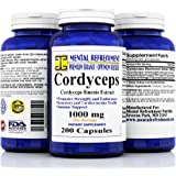 Pure Cordyceps Extract: Maximum Strength 1000 mg 200 Capsules - Cordyceps Sinensis - Healthy Immune Support, Libido, Energy & Immunity Booster, Supports Cardiovascular Health