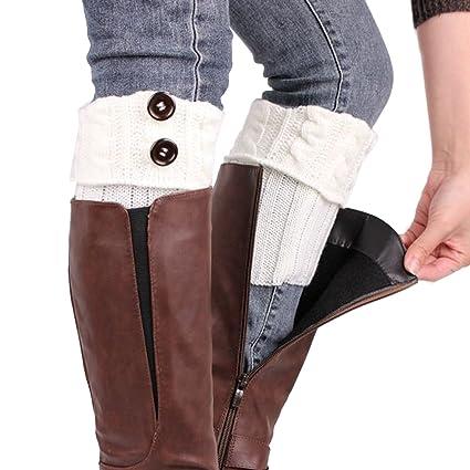 TININNA Calentadores para Mujer, Cálido Invierno Calentadores de Pierna Calcetines para Botas de Punto Polainas
