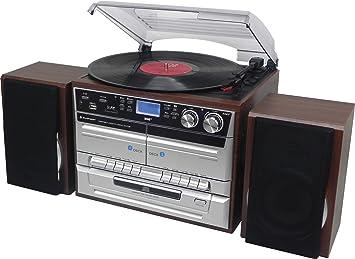 Soundmaster MCD5500DBR tocadisco - Tocadiscos (3,5 mm, Corriente alterna, Negro, Marrón, Plata, MMC, SD)