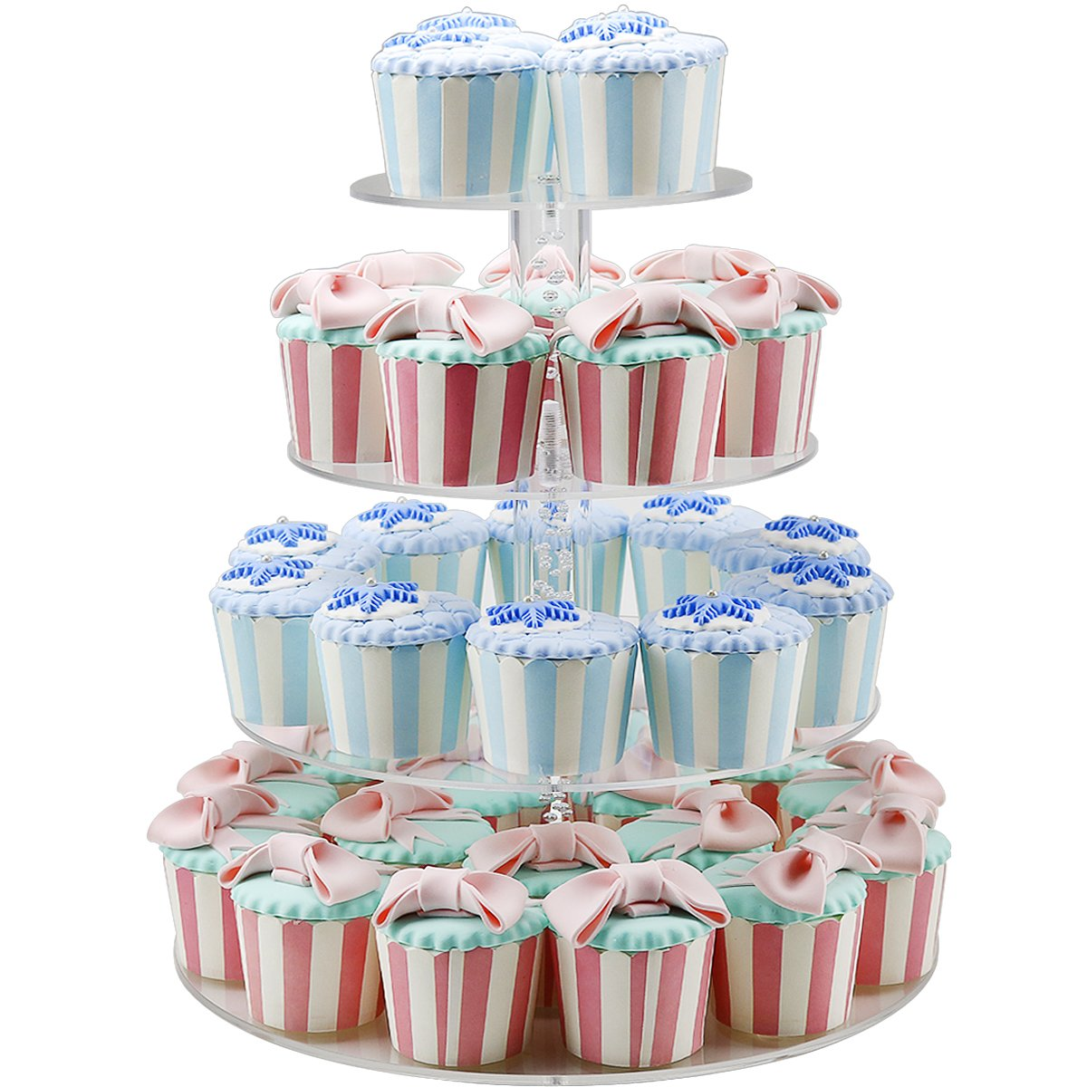 2018 New Style 4 Tiers Cupcake Stands Tower - Clear Acrylic Display Holder Tree - Tiered Cupcake Display- Tiered Round Pastry Stand Dessert Stands Wedding Cake Stands For Parties Birthday - DYCacrlic by DYCacrlic (Image #4)