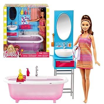 Barbie - Meubles Salle de Bain - Baignoire et Coiffeuse avec Poupée ...