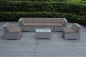 Ohana Collection pn07037grstn pn7037GRSTN Ohana Outdoor Patio Furniture 7 Piece Gray Wicker Sectional Set, Sunbrella Taupe