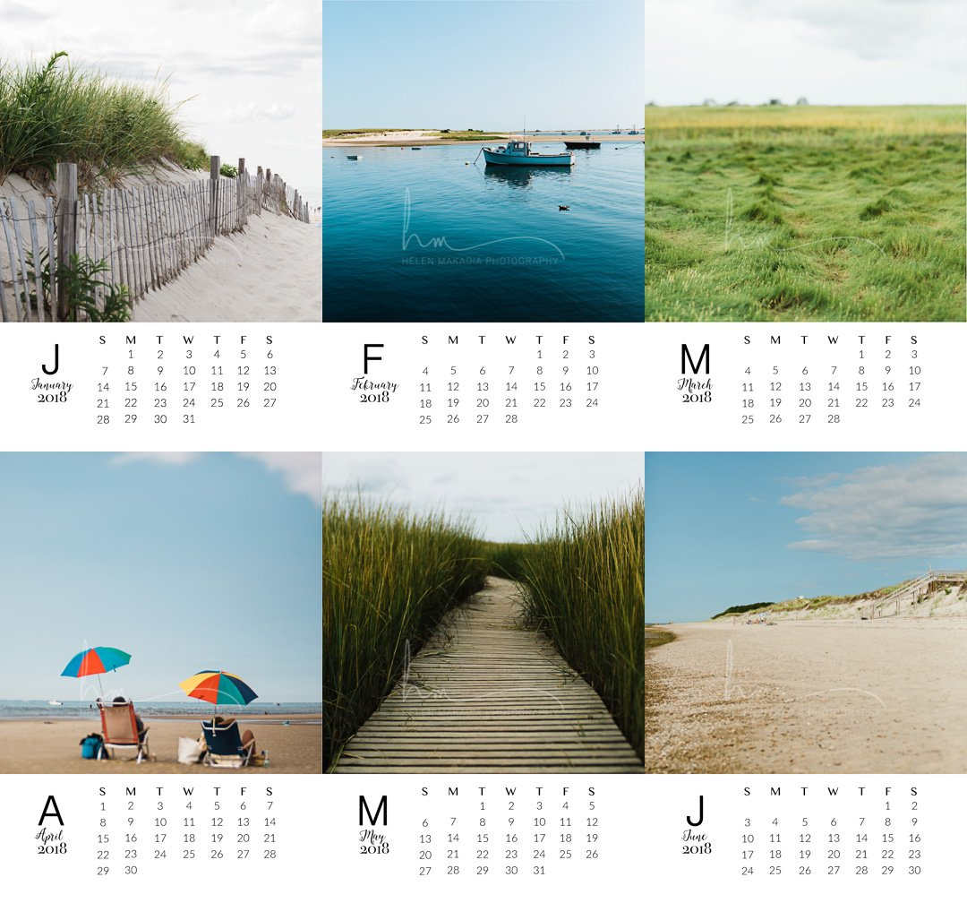 2018 Cape Cod 5x7 Desk Calendar | Loose Leaf Calendar | Stocking Stuffer