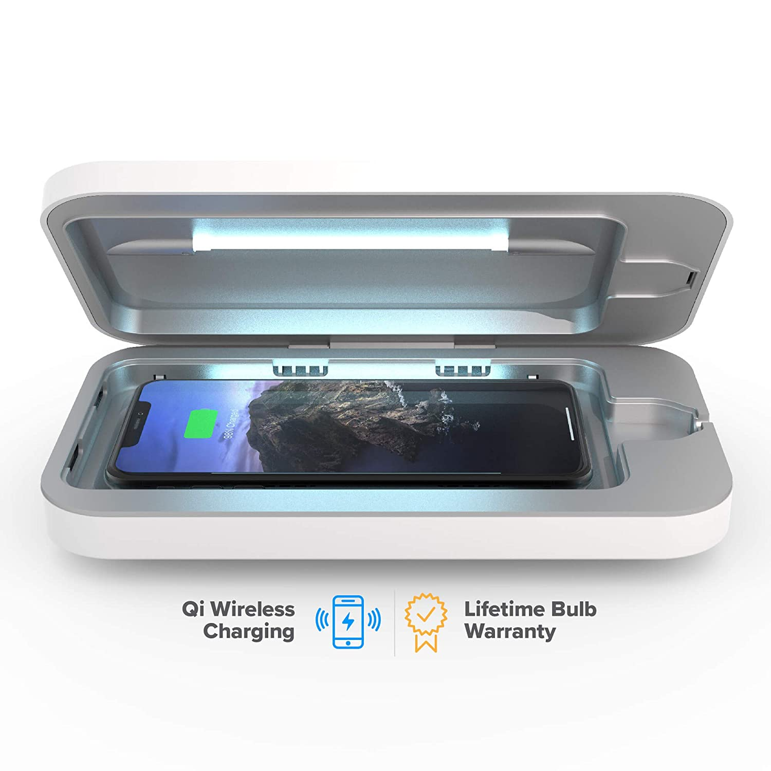 PhoneSoap Wireless UV Smartphone Sanitizer & Qi Charger | Patented & Clinically Proven UV Light Disinfector | (White)