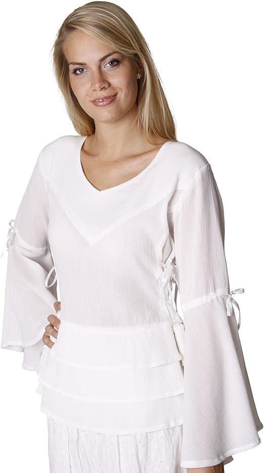Blusa medieval Sophia - traje de mujer distinguido con accesorios - algodón - blanco natural - L/XL: Amazon.es: Ropa y accesorios