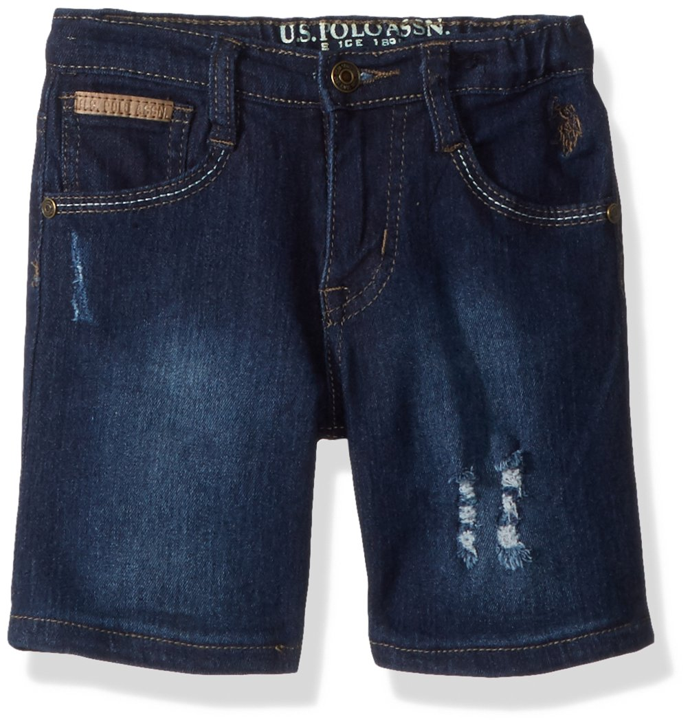 U.S. Polo Assn.. Toddler Boys' Short, Rip Repair Roll up Medium Dark Wash, 2T