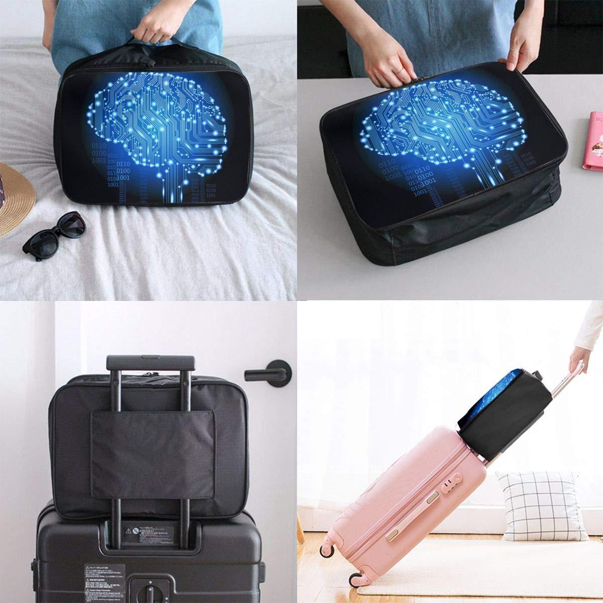 Travel Luggage Duffle Bag Lightweight Portable Handbag Brain Pattern Large Capacity Waterproof Foldable Storage Tote