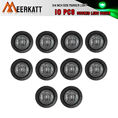 Meerkatt (Pack of 10) 3/4 Inch Mini Round Smoked Lens Green LED Recessed Mount SMD Clearance Lamp Side Marker Indicator Light Ferry Van Boat Bus Trailer Tow Truck RV Waterproof 12V DC Grommets: Automotive