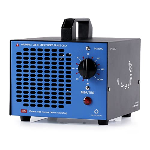 Airthereal MA5000 Commercial Generator 5000mg h Ozone Machine Home Air Ionizers Deodorizer for Rooms, Smoke, Cars and Pets, Blue