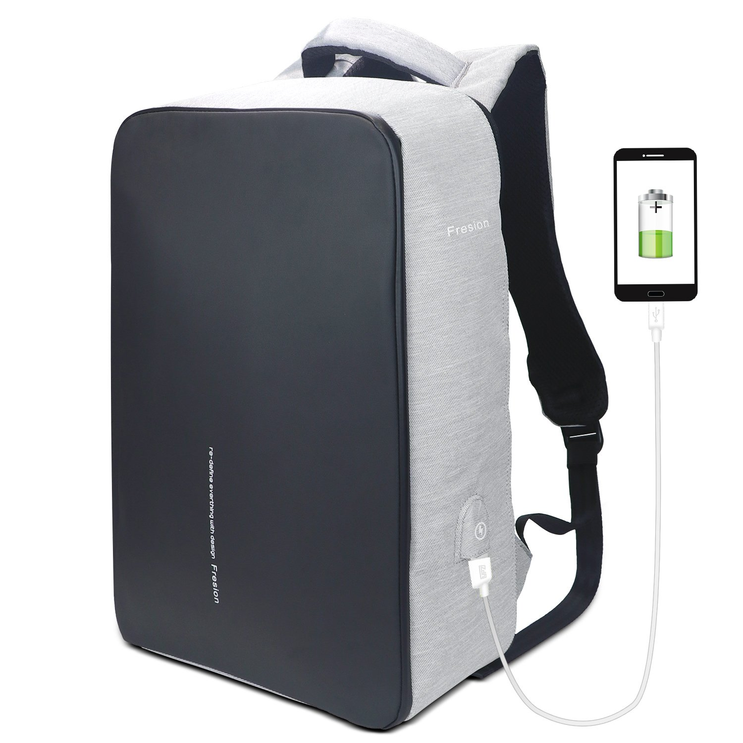 Fresion Business Laptop Backpack 15.6 inch with USB Charging Port Water Resistant Travel Daypack College Bag for Men Women 45 x 32 x 16cm (Grey)