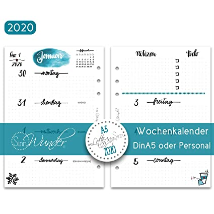 SinnWunder 2019 Premium - Recambio para agenda (1 semana, 2 ...