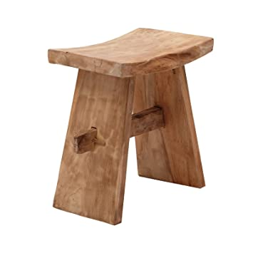 DESIGN DELIGHTS RUSTIC WOODEN STOOL PALAU | Teak Wood, 18u0026quot; | Wooden  Chair,