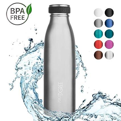 720°DGREE Botella Agua Acero Inoxidable milkyBottle – 500ml, 500 ml, 0.5l, Plateado | Novedoso Antigoteo con Termo de vacío térmico termica Beber en ...