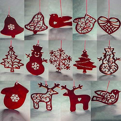 set of 14 christmas ornament acrylic christmas home decorations red acrylic ornaments - Amazon Christmas Home Decor