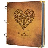SiCoHome Photo Album Scrapbooking with Scrapbook Storage Box,Supplies and Semi-Transparent Sheets,Heart Printed Surface
