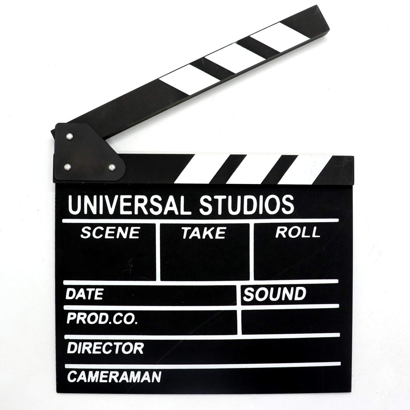 AQUEENLY Film Clapper Board Wooden Movie Slateboard Black Action Cut Board 11.7 inches x 10.6 inches