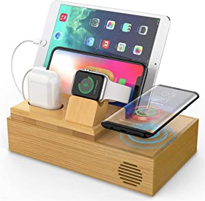 SG Bamboo Wireless Charging Station for Multiple Devices - Magnetic Charger with 4 Ports USB Charger, Smart Watch & AirPods Stand, 3 Charging Cables, Desktop Wooden Organizer for Docking