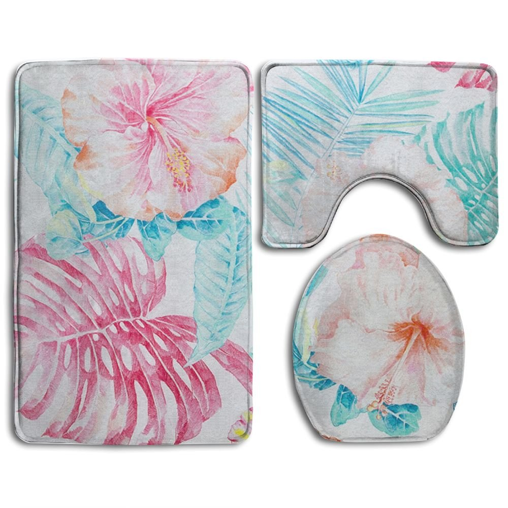 HYEECR Watercolor Flower Non-Slip 3 PCS Bathroom Rug Mats Set, Shower Mat And Soft Toilet Cover Mat, Anti Slippery Rug For Family Men Women Kids, Bath Set Bathroom Accessories