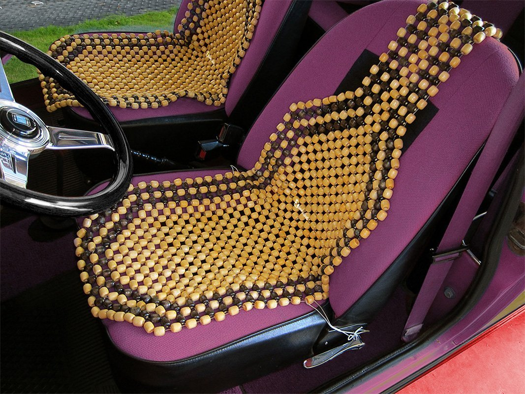 Zento Deals Cool Vehicle Wooden Beads Massage Back Support Comfort Beaded Car Seat Cover SE4