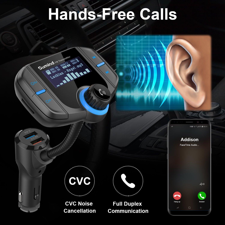 Grigio Argento Bluetooth Trasmettitore FM con 1.7 pollici Display e Porte Doppio USB