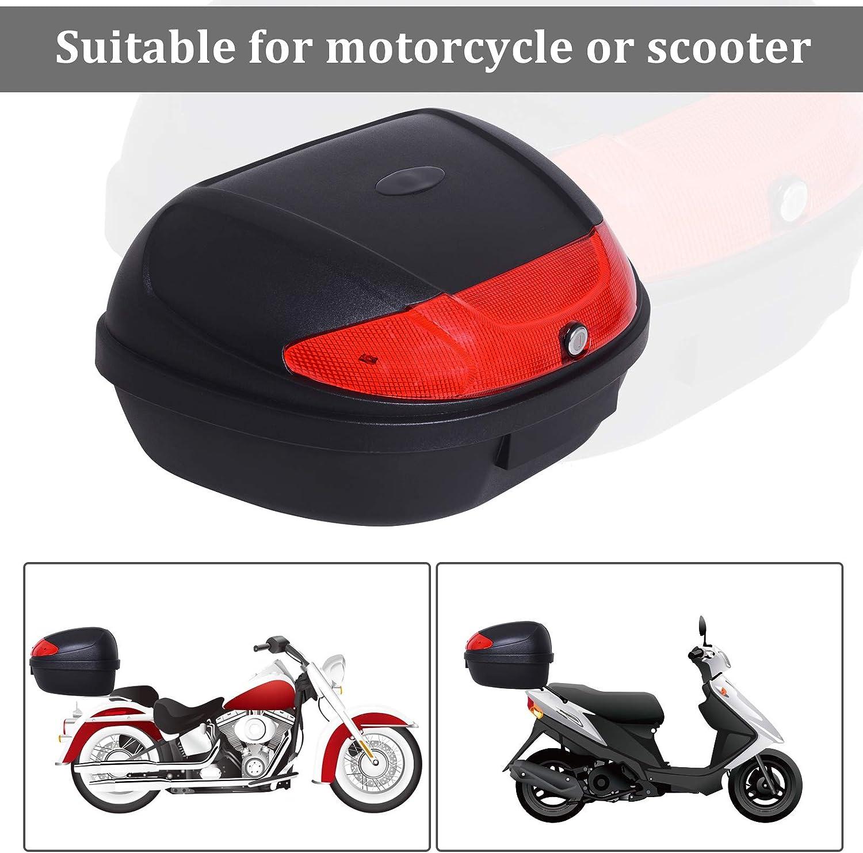 Tidyard Motorcycle Tail Box 48L Top Case Motorbike Trunk Helmet Carrier Luggage Helmet Storage Mount Rack w//Keys Weight Capacity 6.6lbs Black and red