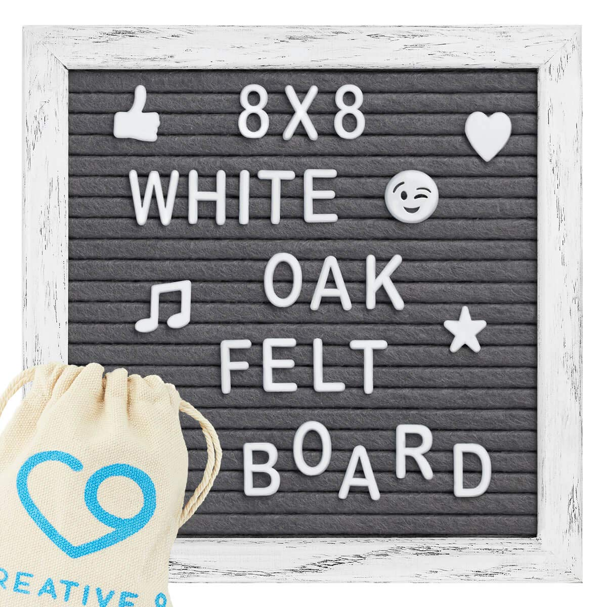 Felt Letter Board - 8''x 8'' Vintage Rustic Oak Frame, Stand, Canvas Bag, Wall Mount - 346 Letters, Numbers, Emojis | Message Board, Word Board, Letterboard for Home Or Office Decor (Gray)